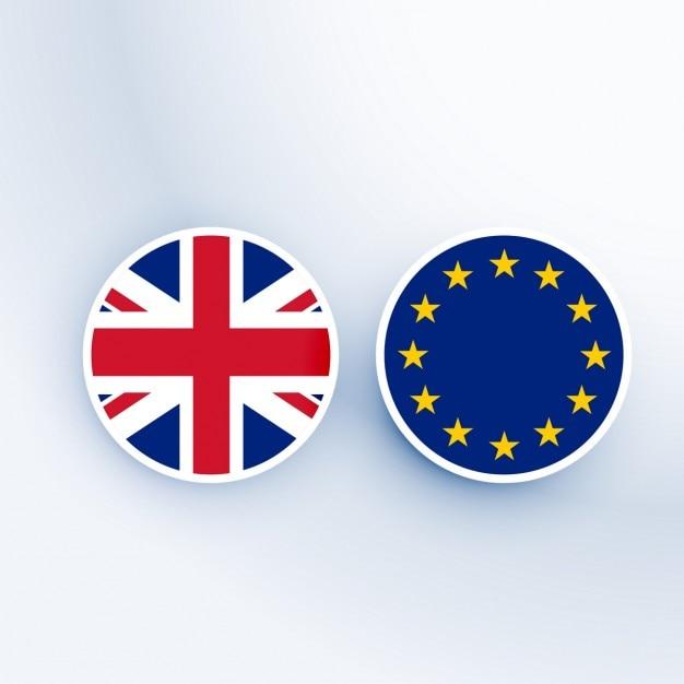 Verenigd koninkrijk en de europese unie symbool en badges Gratis Vector