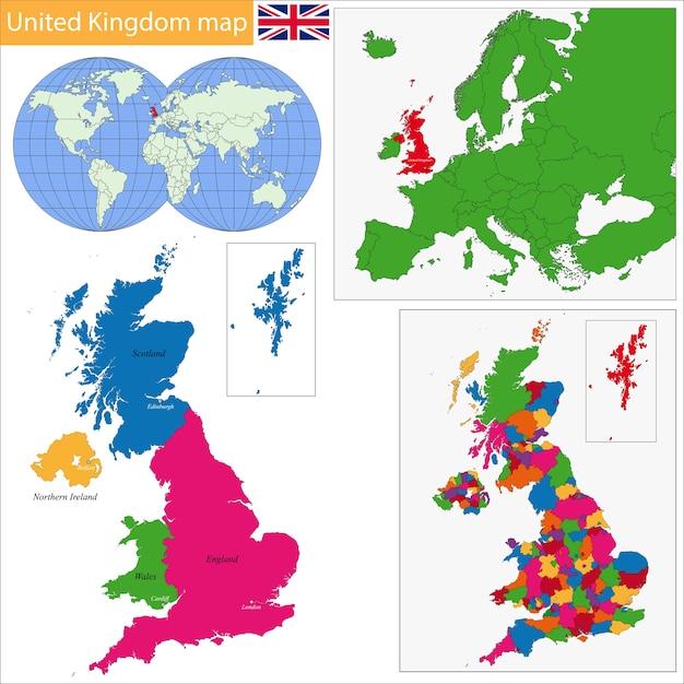 Verenigd koninkrijk kaart Premium Vector