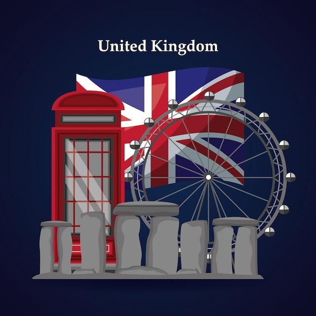Verenigd koninkrijk plaatsen vlag Premium Vector