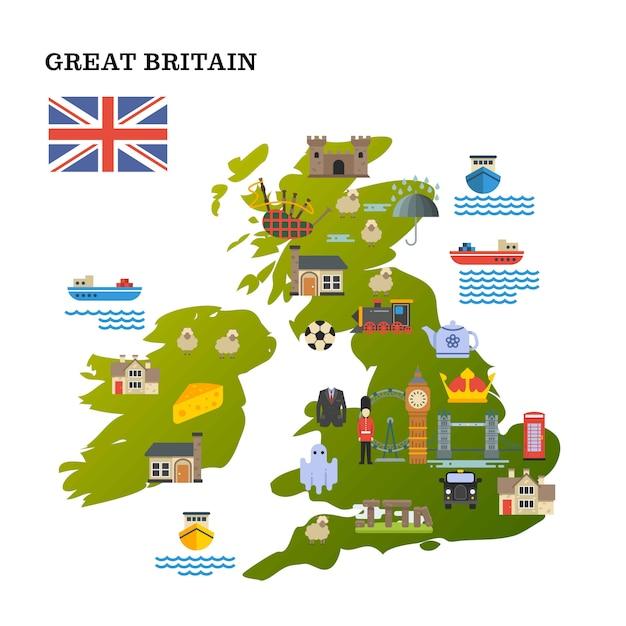 Verenigd koninkrijk reizen kaart Premium Vector