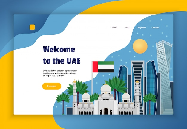 Verenigde arabische emiraten online reisbureau website concept banner met vlag moskee science fiction stijl architectuur vlakke afbeelding Gratis Vector