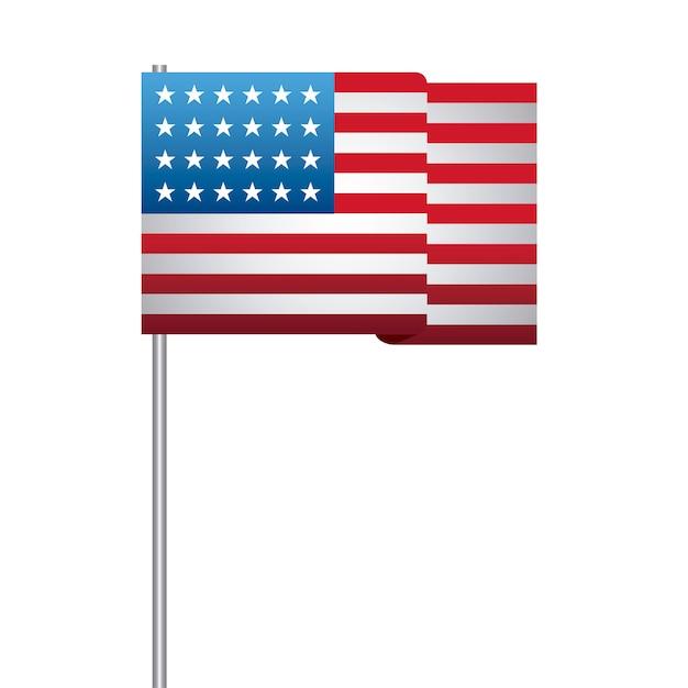 Verenigde staat van amerikaanse vlag in stick Premium Vector