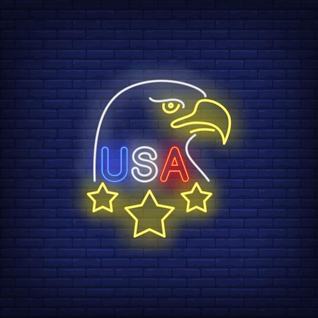 Verenigde staten adelaar neon teken Gratis Vector