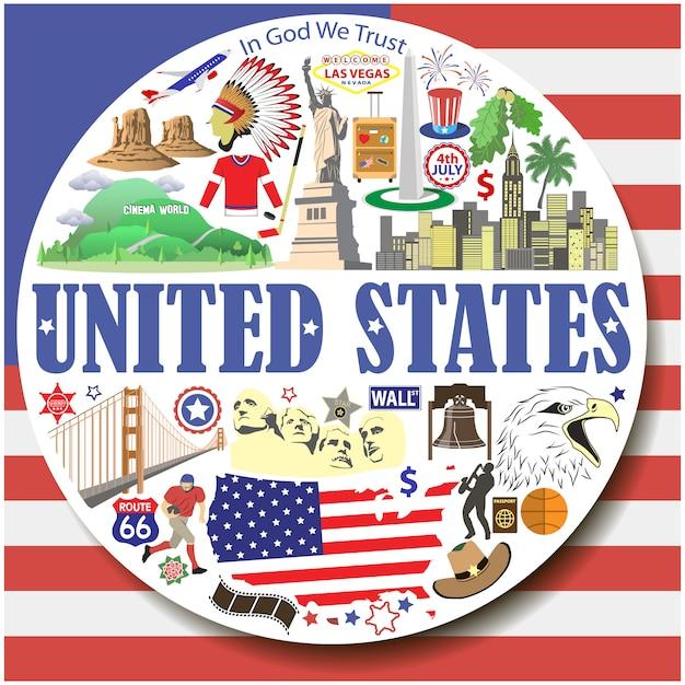 Verenigde staten om achtergrond. setcolored plat pictogrammen en symbolen ingesteld Premium Vector