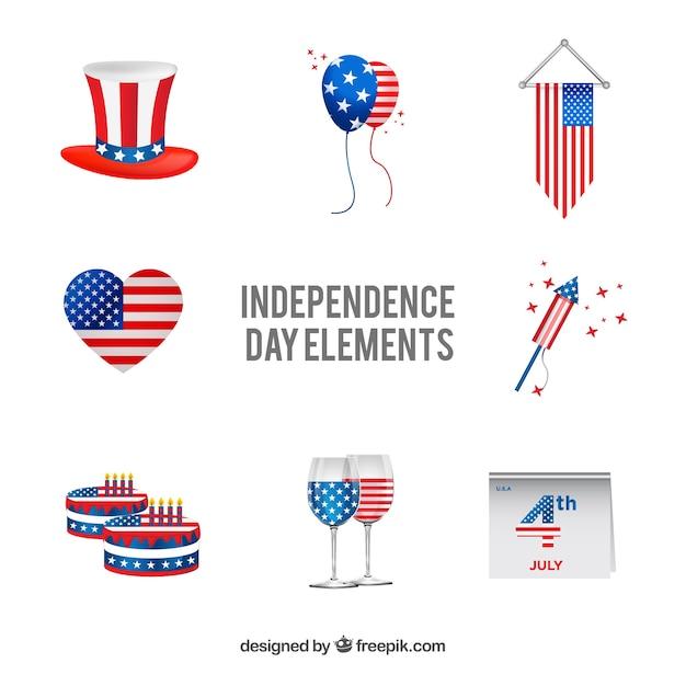 Verenigde staten onafhankelijkheidsdag platte elementenverzameling Gratis Vector