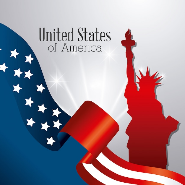 Verenigde staten patriottisme ontwerp. Gratis Vector