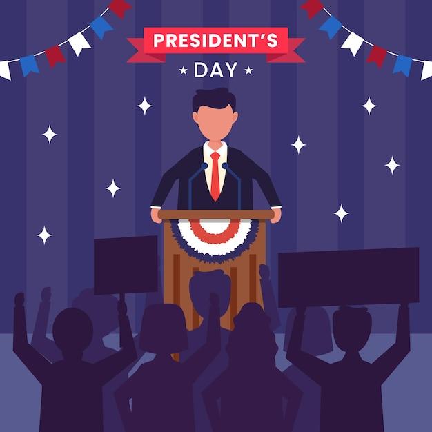 Verenigde staten van amerika, president's day-concept. Premium Vector
