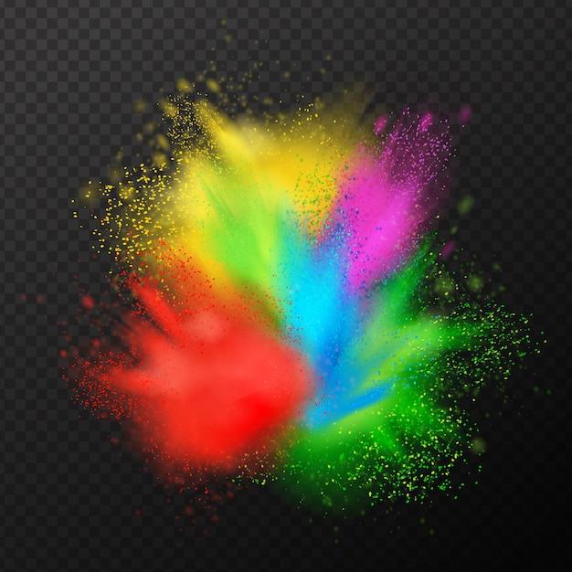 Verf explosie realistische samenstelling Gratis Vector