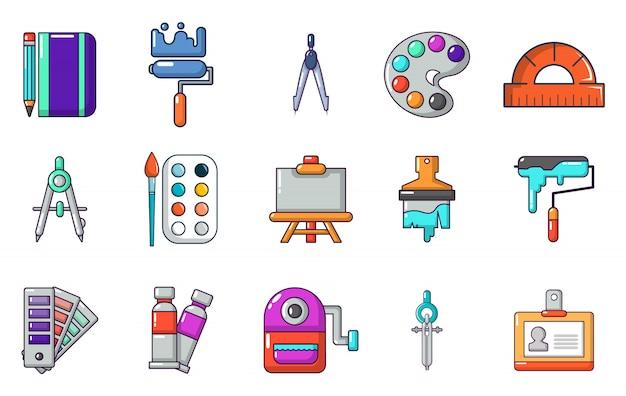 Verf gereedschappen pictogramserie. beeldverhaalreeks vectorpictogrammen van verfhulpmiddelen geplaatst geïsoleerd Premium Vector