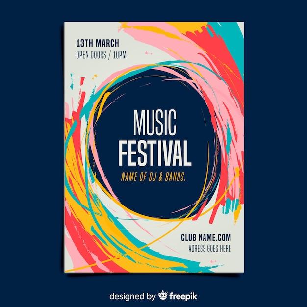 Verf muziek festival poster sjabloon Gratis Vector
