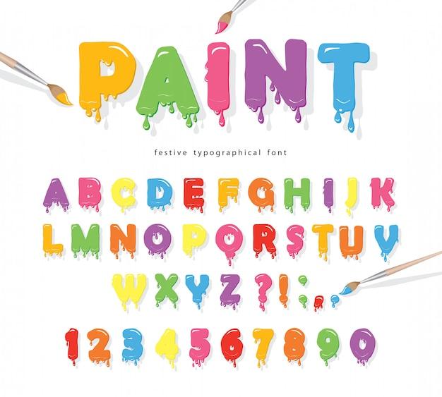Verf stroomt kleurrijke lettertype. Premium Vector