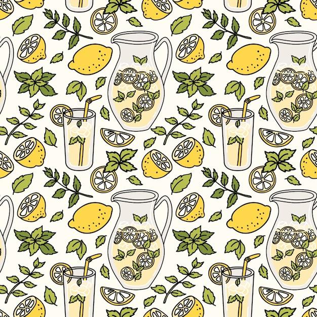Verfrissend naadloos patroon met limonade Premium Vector