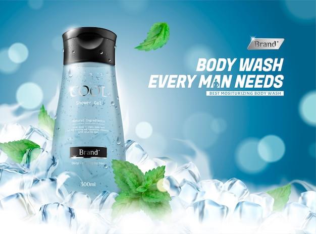 Verfrissende body wash voor mannen met bevroren ijsblokjes Premium Vector