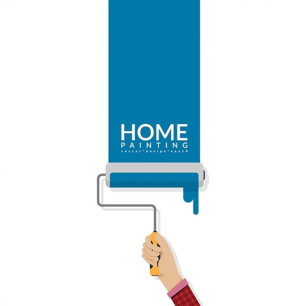 Verfroller die ter beschikking blauwe kleur op lege muur schildert Premium Vector