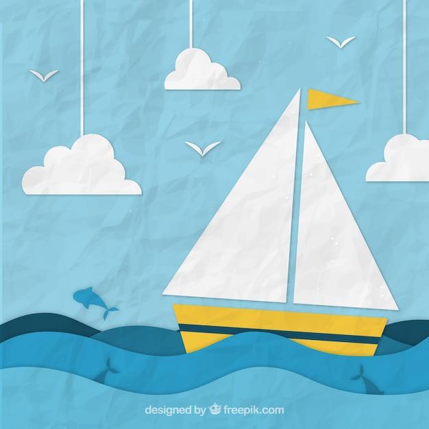 Verfrommelde achtergrond met papieren boot zeilen Gratis Vector