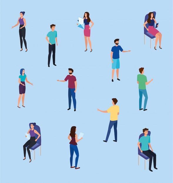 Vergadering van mensen uit het bedrijfsleven avatar karakter Gratis Vector