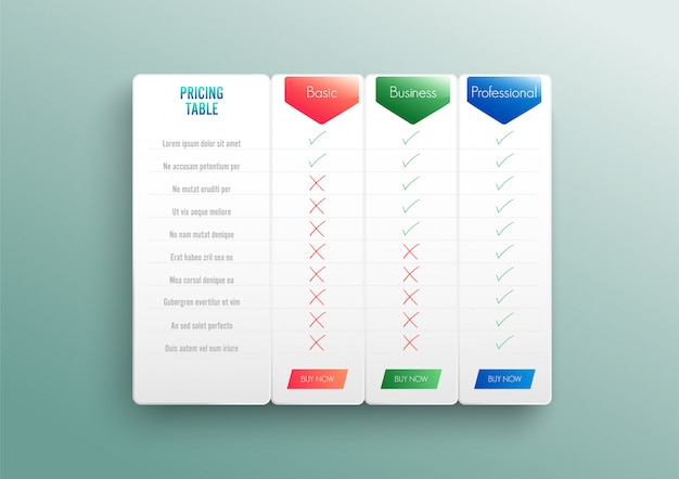 Vergelijkende prijslijst. vergelijk prijs of productplan grafiek vergelijk producten zakelijke inkoopkorting hosting beeldraster. Premium Vector