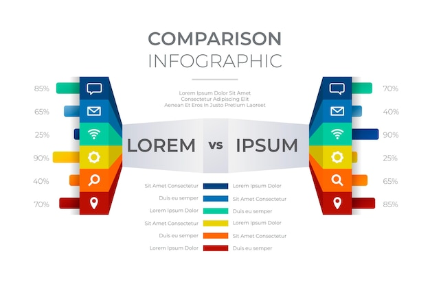 Vergelijkingstabel infographic stijl Gratis Vector