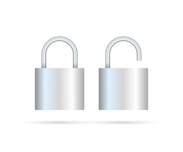 Vergrendeld en ontgrendeld hangslot realistisch. veiligheidsconcept. metalen slot voor veiligheid en privacy Premium Vector