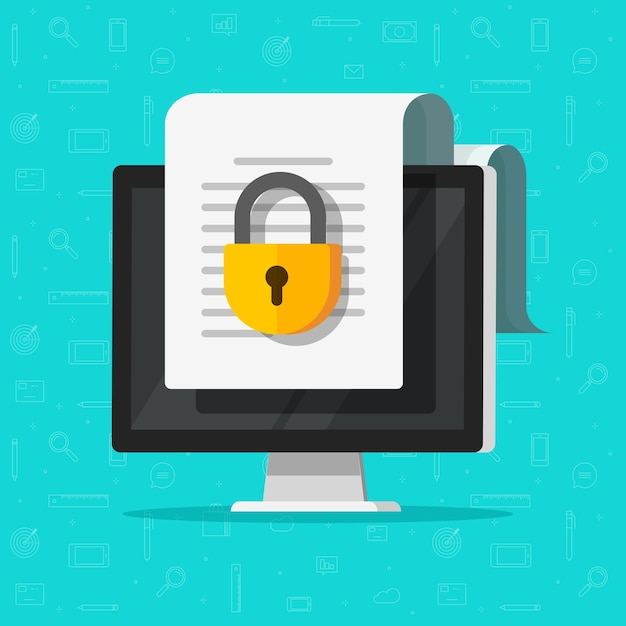 Vergrendeld vertrouwelijk beveiligd document online toegang op website met privé slot op computer pc platte bestandspictogram Premium Vector