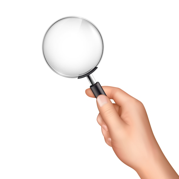 Vergrootglas in menselijke hand Gratis Vector