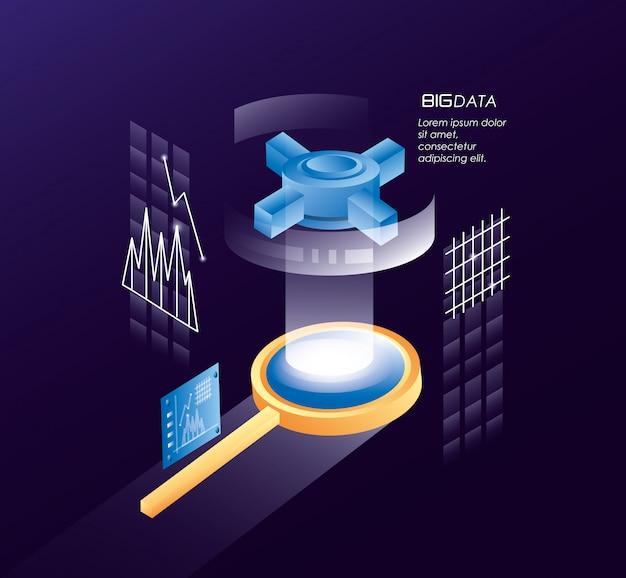 Vergrootglas met datacenterpictogrammen Premium Vector