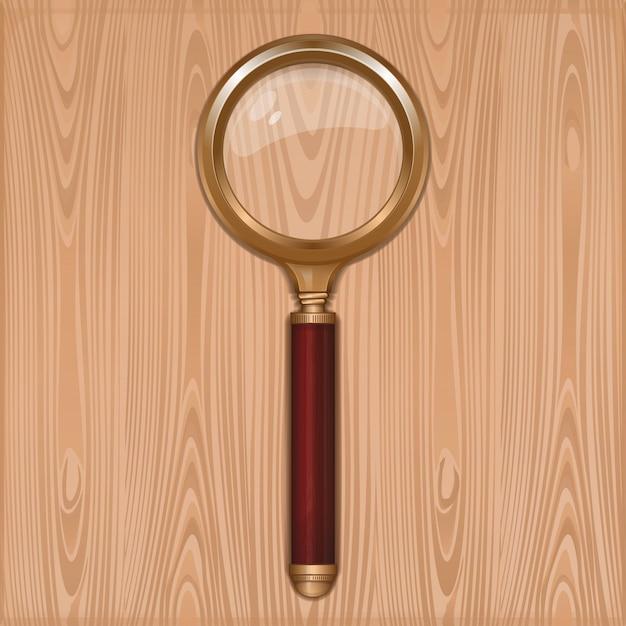 Vergrootglas op een houten achtergrond. goud loep met redwood handvat. loep. leesglas. realistische illustratie Premium Vector