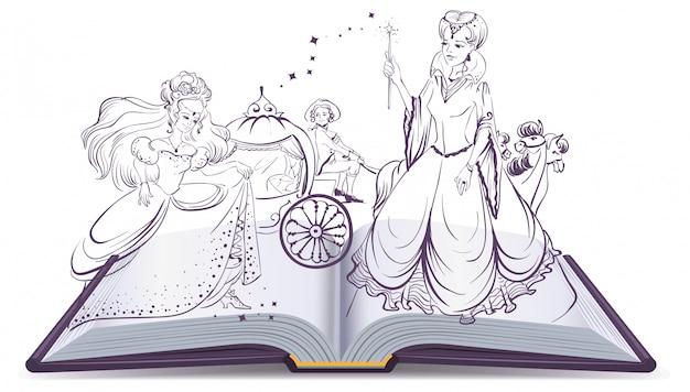 Verhaal van assepoester. open boek fantasieverhaal. fee en assepoester met de glazen muiltje Premium Vector