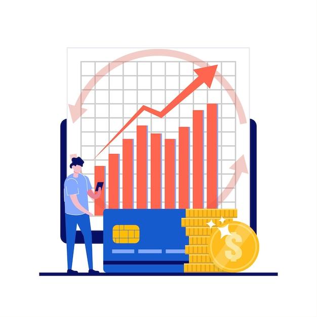 Verhoog de omzet, investeringsbankconcepten met zakenman-karakter. Premium Vector