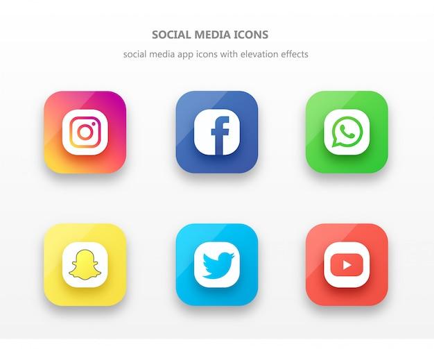 Verhoogde social media app icon set met schaduwen en hoogtepunten Premium Vector