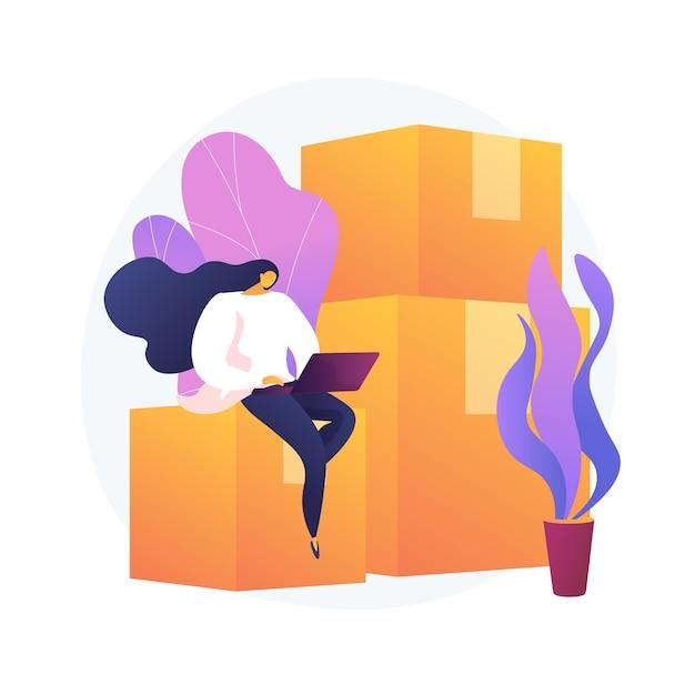 Verhuisservices. appartement huren, accommodatie leasen, ontwerpelement van de website van een makelaar. vrouw met laptop zittend op kartonnen dozen. Gratis Vector