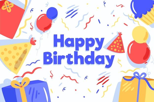 Verjaardag achtergrond in plat ontwerp Gratis Vector