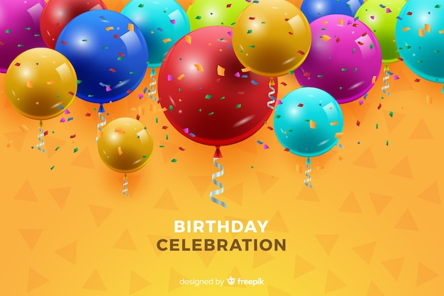 Verjaardag achtergrond met ballonnen Gratis Vector