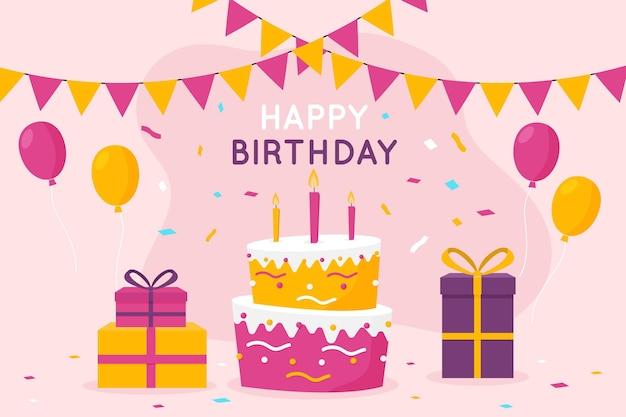 Verjaardag achtergrond met cake en geschenken Gratis Vector