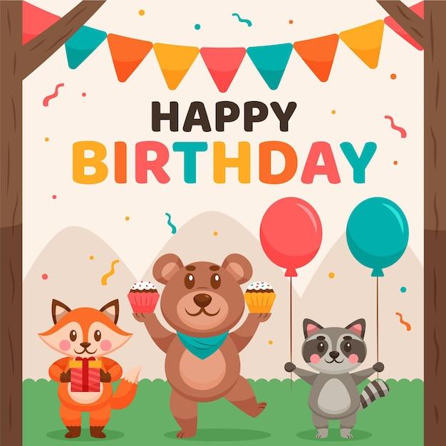 Verjaardag achtergrond met dieren en ballonnen Gratis Vector