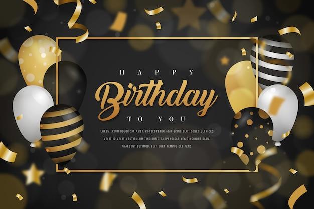 Verjaardag achtergrond met gouden ballonnen en confetti Gratis Vector