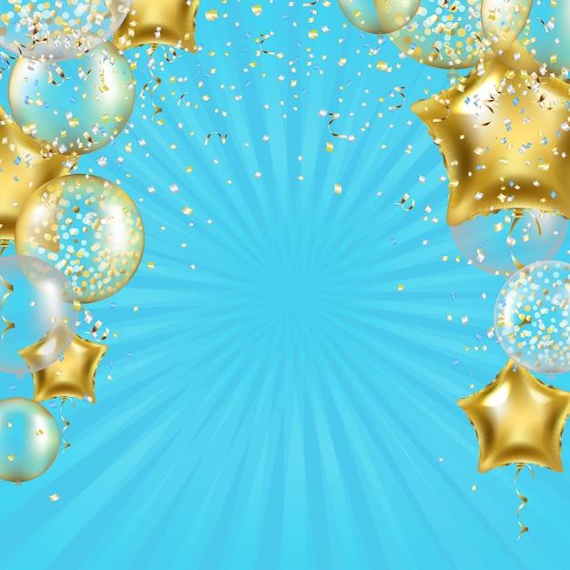 Verjaardag achtergrond met gouden sterren ballonnen en sunburst Premium Vector