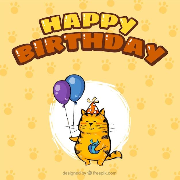 Verjaardag Achtergrond Met Kat Vector Gratis Download