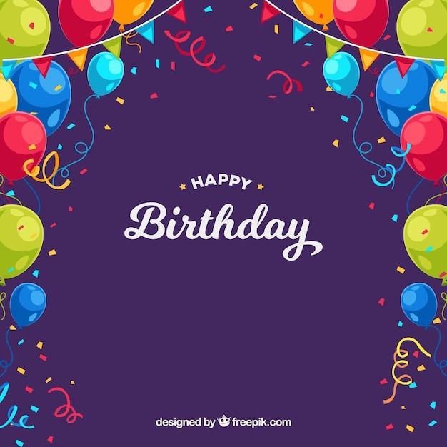 Verjaardag achtergrond met kleurrijke ballonnen en confetti Gratis Vector