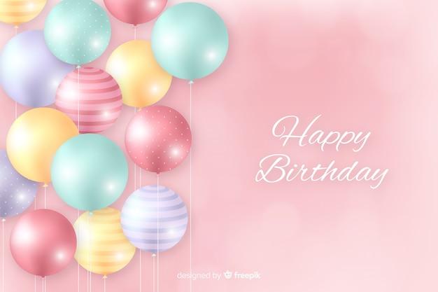 Verjaardag achtergrond met realistische ballonnen Gratis Vector