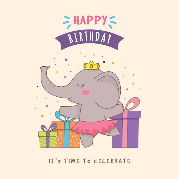 Verjaardag Achtergrond Met Schattige Olifant Vector Premium Download