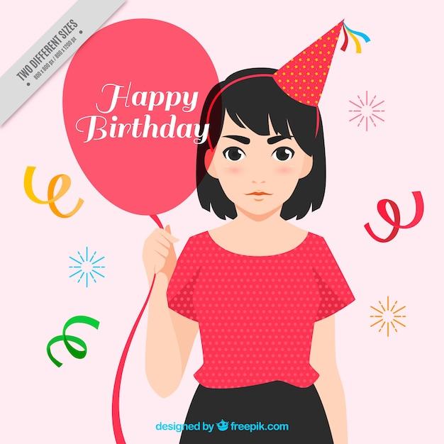Zeer Verjaardag achtergrond met vrouw die een ballon Vector | Gratis  UL26