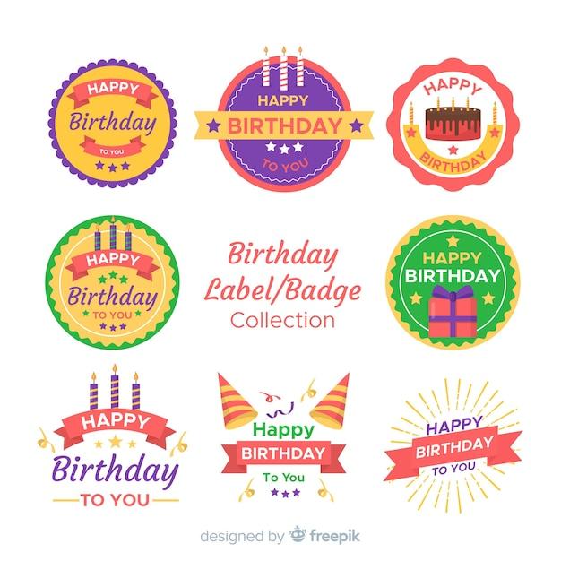 Verjaardag badge collectie Gratis Vector