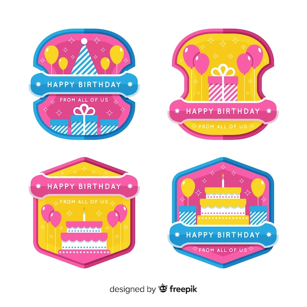 Verjaardag badge collectie Gratis Vector