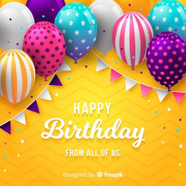 Verjaardag ballon achtergrond Gratis Vector