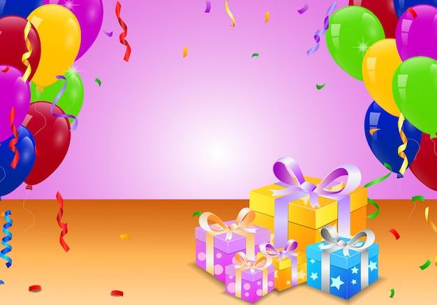 Verjaardag Ballon En Verrassing Doos Vector Premium Download
