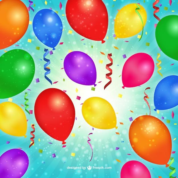 Verjaardag Ballonnen En Confetti Vector Gratis Download