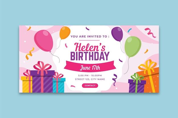 Verjaardag banner concept Premium Vector