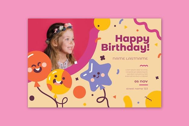 Verjaardag banner voor kinderen Premium Vector