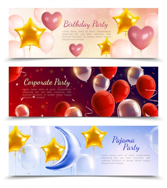 Verjaardag bedrijfs- en pyjamafeest drie horizontale banners versierd met luchtballonnen in de vorm van ballen, harten en sterren realistisch Gratis Vector